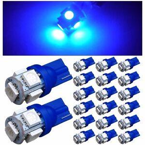 20-X-Ultra-Blue-T10-5050-LED-Wedge-Car-5-SMD-Light-Bulb-W5W-194-168-2825-158-192