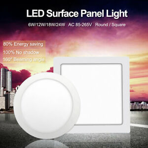 Round-Square-Surface-Ceiling-Lamp-LED-Panel-Down-Light-For-Home-Commercial-E8CA