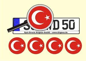 4-x-Nummernschild-Aufkleber-Tuerkei-Tuerkiye-AU-Ersatz-Plakette-Flagge
