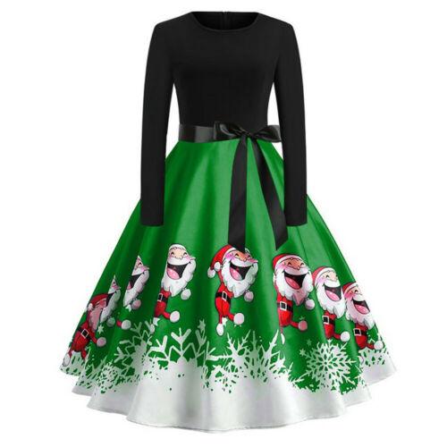 Fashion Women/'s Vintage Print Long Sleeve Christmas Evening Party Swing Dress US