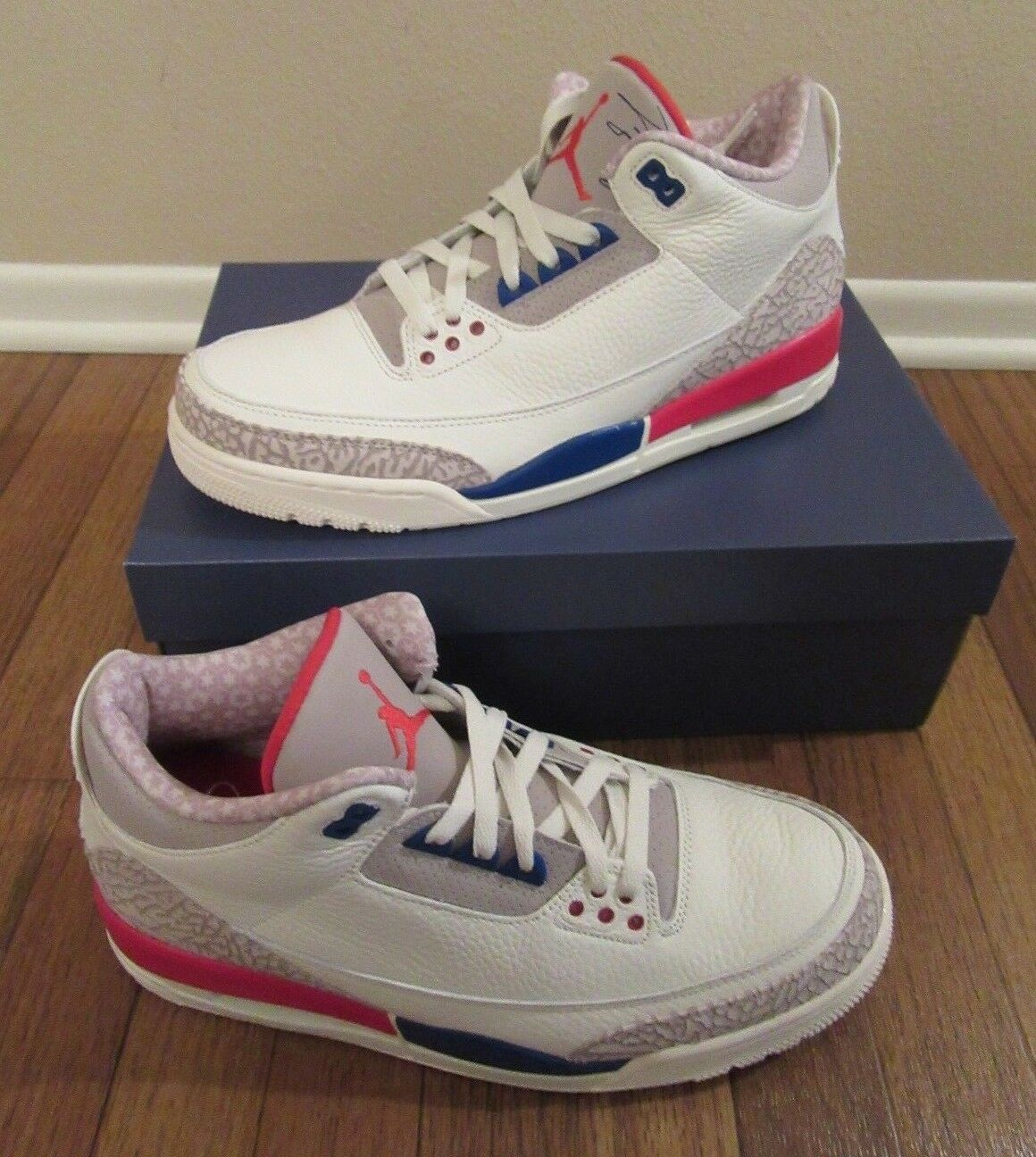 Nike Air Jordan 3 Retro Size 11.5 Sail Sport Royal Bone 136064 140 International