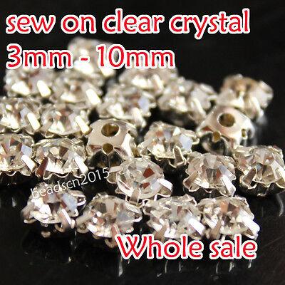 3-10mm clear crystal glass Sew On silver Cup Rhinestone Claws Gems dress making