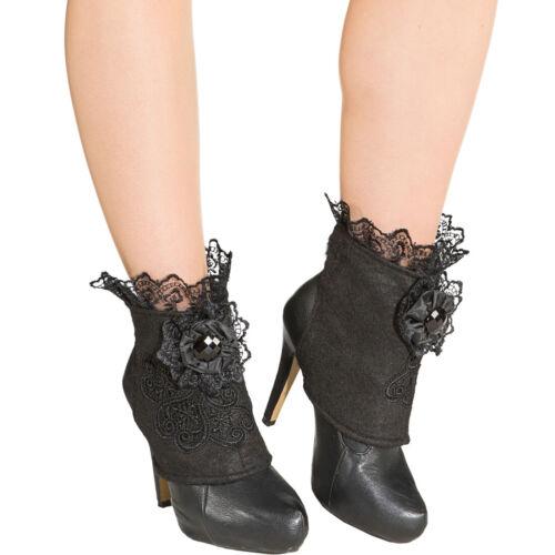 Gothic Boot Covers Elegante Stiefelstulpen mit Spitze Steampunk Schuhstulpen