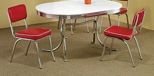 Retro Kitchen Chairs | Red Retro Dining Chairs Chrome Vinyl Vintage 50 S Diner Style Seats Set Of 2