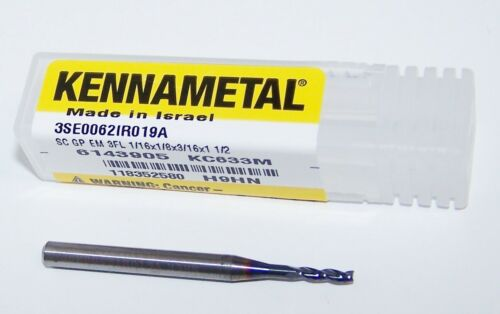 """.0625/"""" CARBIDE END MILL 3 FLUTE  KENNAMETAL COATED GO MILL 6143905 1//16/"""""""
