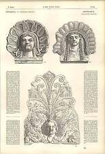1862 Greek Pottery Antefixes Morpheus Tuft Of Leaves Asiatic Implements Artwork