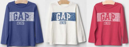 GAP Boy Tee Crewneck Logo Long Sleeve School 100/% Cotton Blue White Red 3T 4T 5T