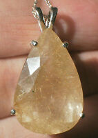 27.76ct Golden Rutilated Quartz .925 Sterling Silver Huge Pear Pendant Necklace