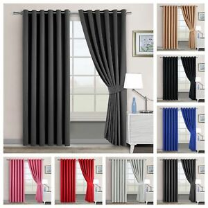 Thermal-Blackout-Ready-Made-Pair-Curtains-Eyelet-Ring-Top-With-FREE-Tie-Backs