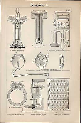 Lithografie 1897: Fernsprecher I/ii. Von Siemens Bells Vielfachschaltschrank Fer Kunden Zuerst