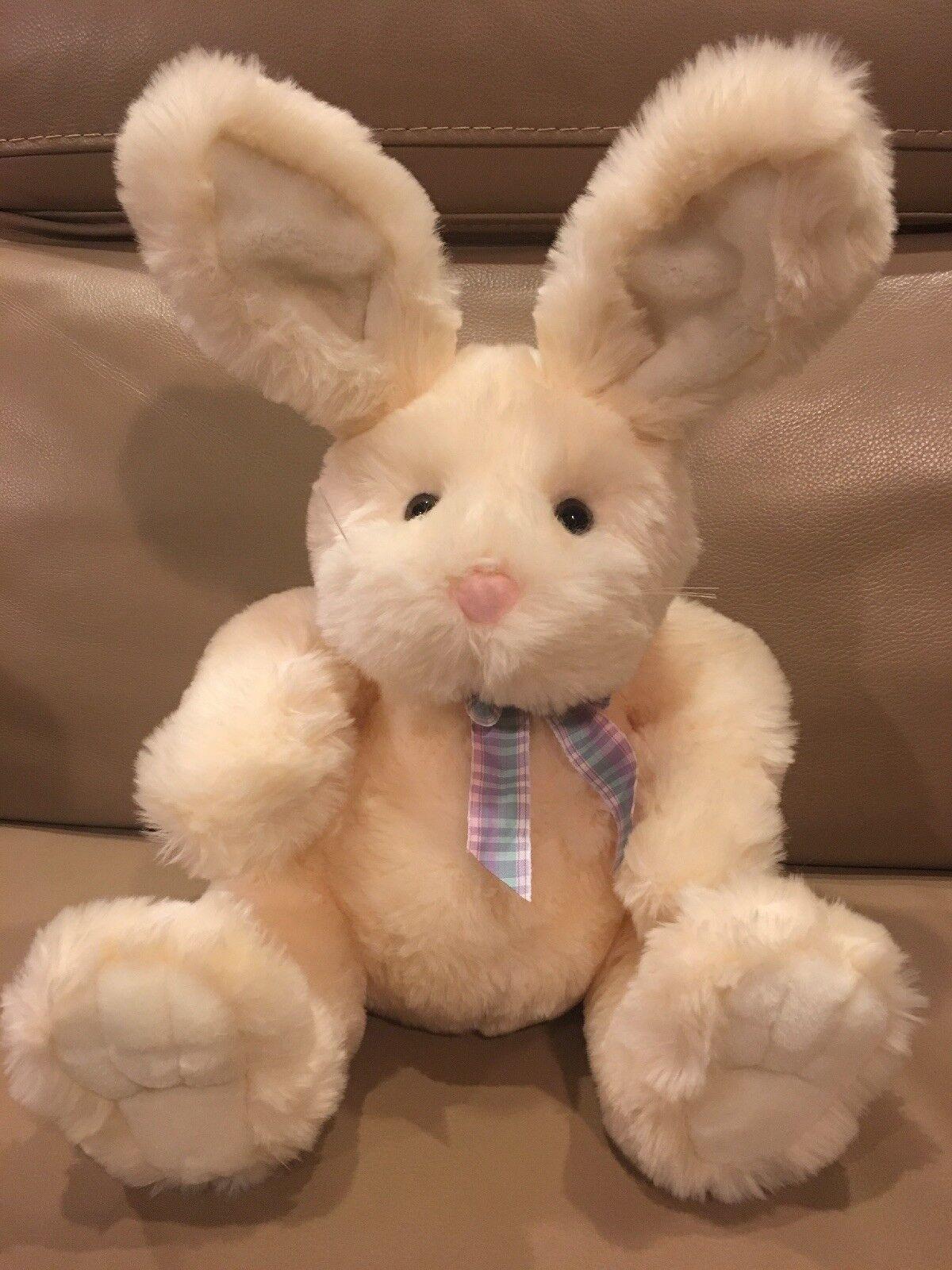 Animal Adventure 2002 EASTER Cream Bunny Rabbit Plush 16  Gingham Bow Ribbon