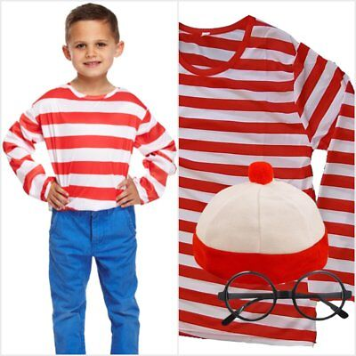 Childrens Boys Girls Red /& White Stripy Wally Top Jumper Fancy Dress
