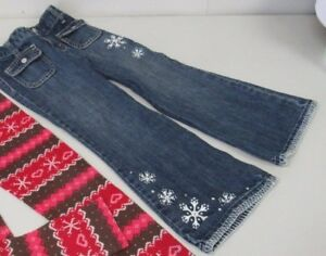 Gymboree-WINTER-CHEER-Denim-Snowflake-Jeans-Pants-Size-5-TL28-EUC