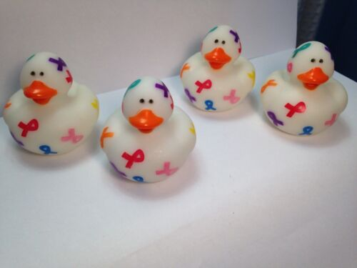 Lot of 12 Cancer awareness Rubber Ducks Ducky Duckies