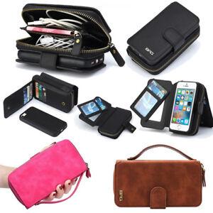 the latest 41101 fe621 Details about Fashion Leather Detachable Zipper Magnetic Wallet Flip Cover  Card Slots Case BRG