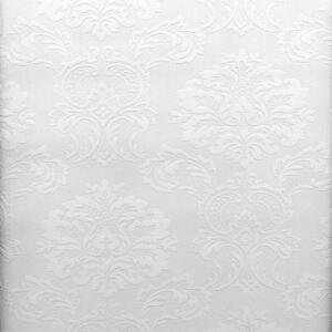 Victorian damask raised white textured paintable wallpaper for Paintable wallpaper home hardware