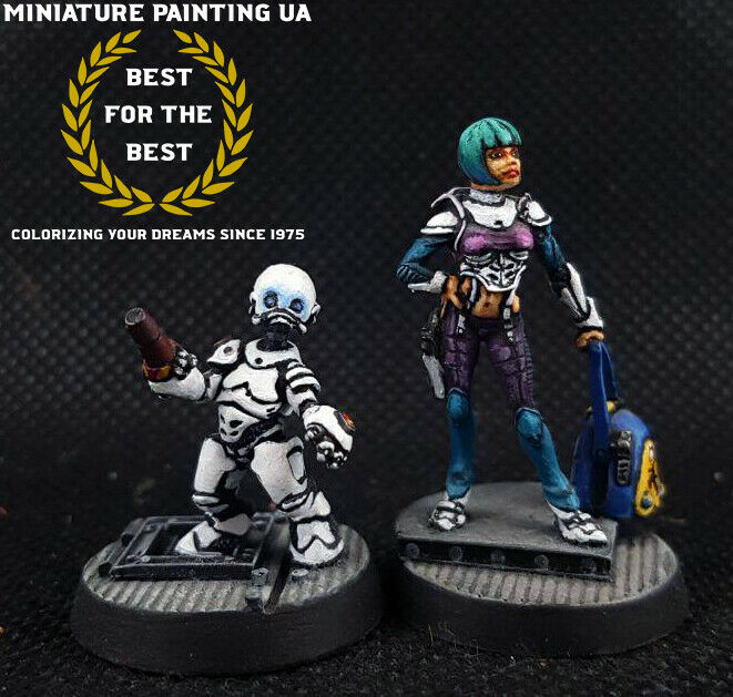 Infinity The Game, Sci-Fi RPG Girl Hacker Målad Metal Miniatyr Corvus Belli