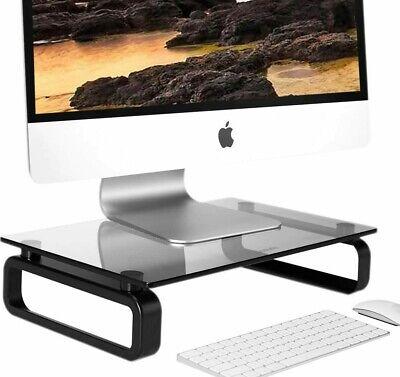 Black Glass Monitor Riser Desktop Stand, Glass Monitor Stand
