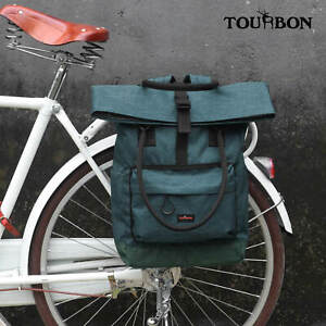 Tourbon-Commuter-Bike-Roll-Top-Backpack-Laptop-School-Travel-Sport-Bag-Nylon