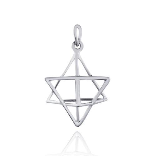 925 Sterling Silver Merkaba Sacred Pendant Geometric Openwork Star Shape NEW
