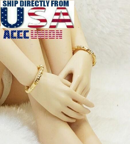 """Échelle 1//6 couleur or Bracelets pour 12/"""" Phicen Hot Toys Verycool figure féminine"""