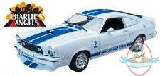 1:18 1976 Ford Mustang Cobra II White with Blue Charlie's Angels