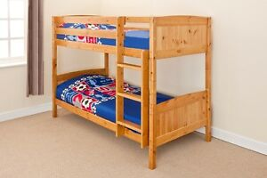 Wooden Bunk Bed Kids Childrens Single Pine White Or Grey 3ft