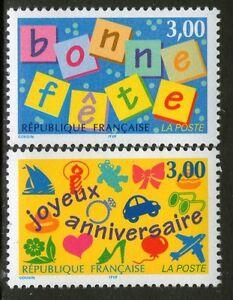 TIMBRES 3045-3046 NEUF XX LUXE - BONNE FETE - BON ANNIVERSAIRE
