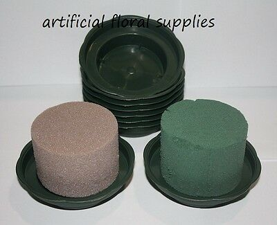 JUNIOR bowl trays GREEN with WET or DRY cylinders foam oasis weddings 2 items