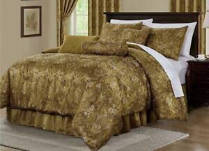 7-Piece-Gold-Jacquard-Woven-Floral-Motif-Comforter-Set-or-Window-Curtain-Set