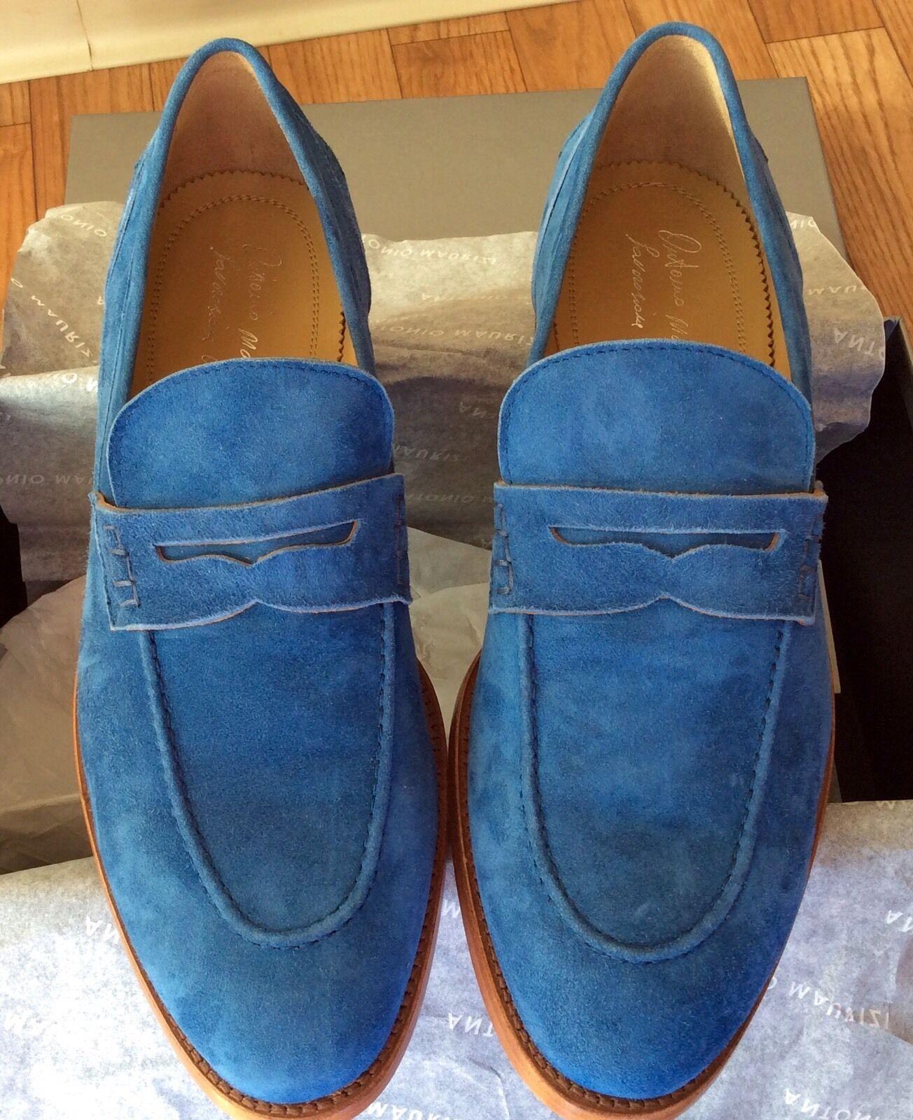 miglior prezzo migliore Antonio Maurizi Suede Slip On Penny Loafer 43 43 43 EU  Gorgeous blu Colore Brand NEW  a prezzi accessibili