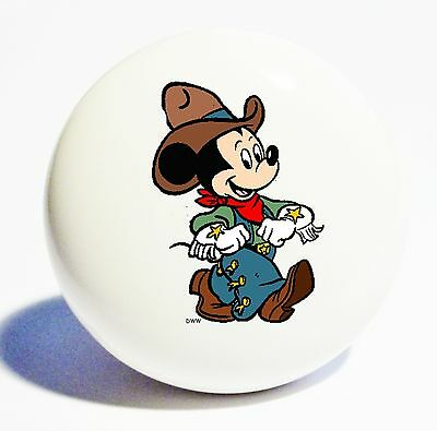 COWBOY MICKEY MOUSE HOME DECOR CERAMIC KITCHEN  KNOB DRAWER CABINET PULL