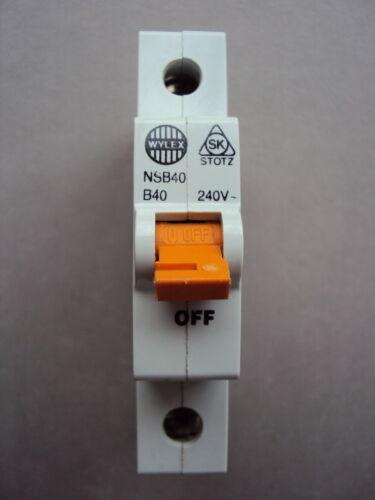 WYLEX NSB 6 10 16 20 32 40 AMP TYPE B BS60898 NSB06 NSB10 NSB16 NSB32 NSB40 MCB