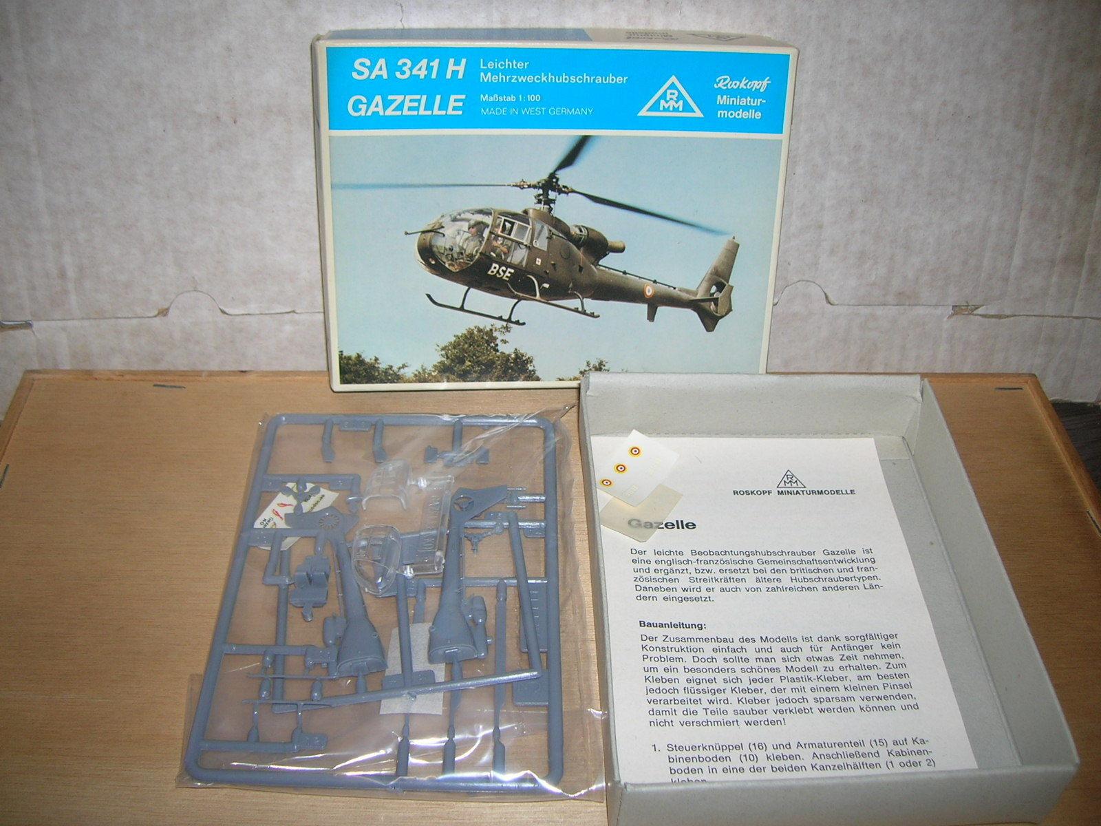 ROSKOPF RMM Modèle Kit 57-hélicoptère SA 341 H Gazelle militaire 1 100