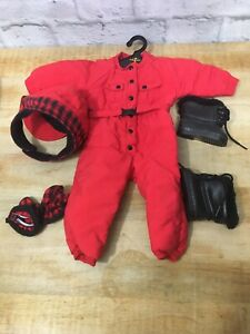 Retired-American-Girl-Doll-Dogsled-Outfit-Red-Snowsuit-Winter-Jumpsuit