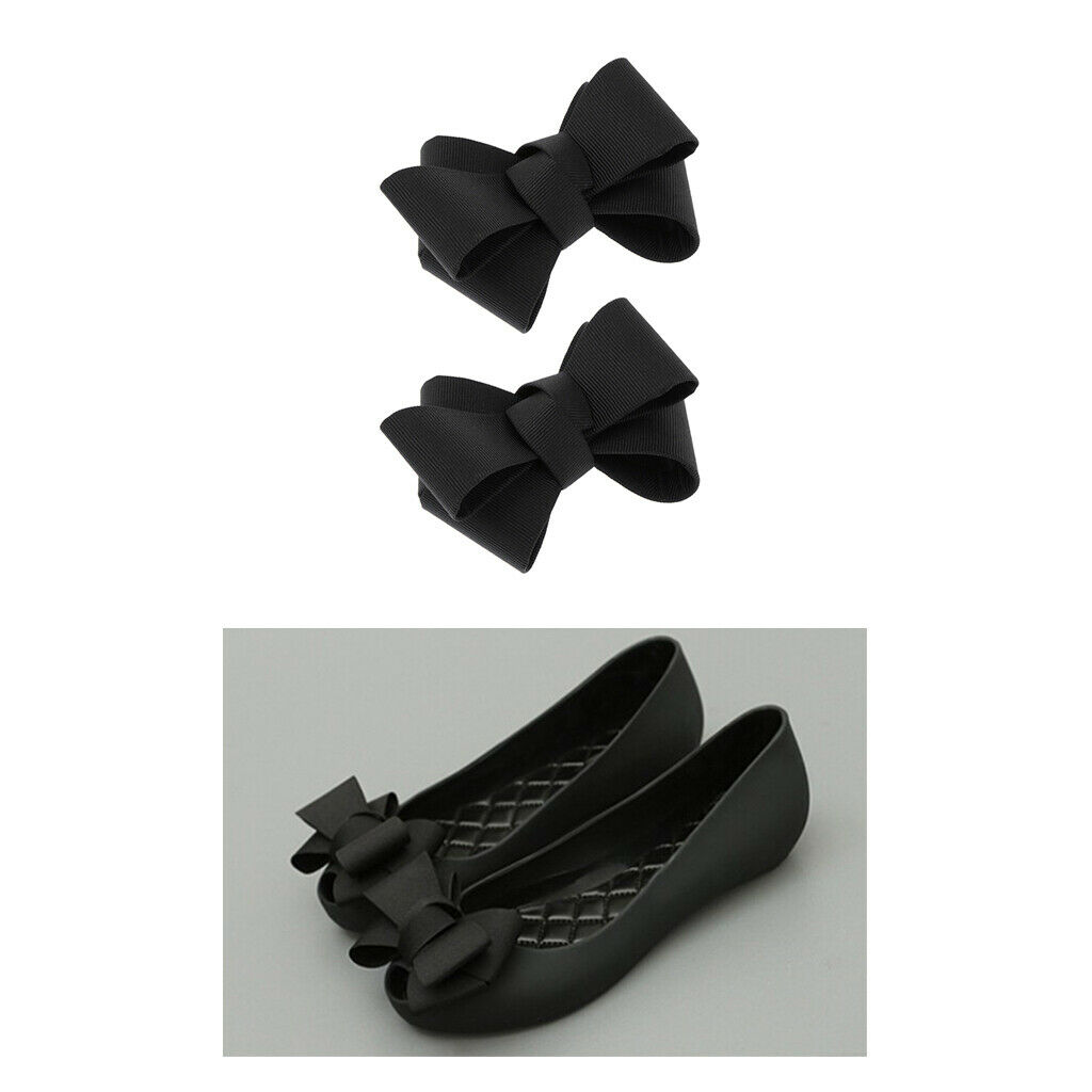 Pair of Black Ribbon Bow Shoes Clip Ladies High Heel Charms