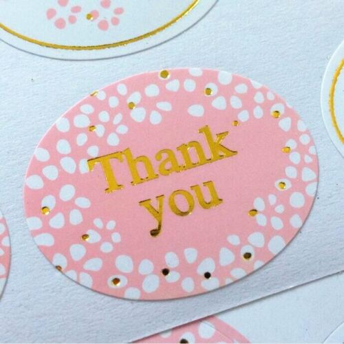 Set of 24 Stickers Thank You with GOLD Embellishment