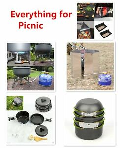 Portable-Ourdoor-Camping-Cooking-Set-BBQ-Cookware-Pot-Pan-Gas-Stove-Windscree-UB