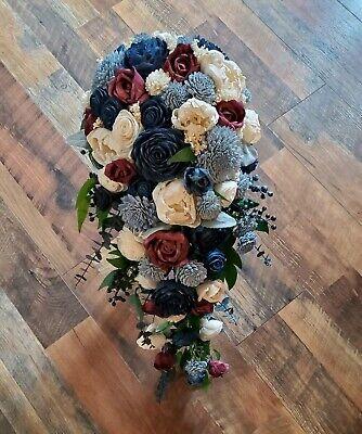 Sola Wood Bouquet Sola Flower Bridal Cascade Bouquet ~ Wine ~ Sola Flower Bouquet Faux Flowers Cascade Wedding Bouquet