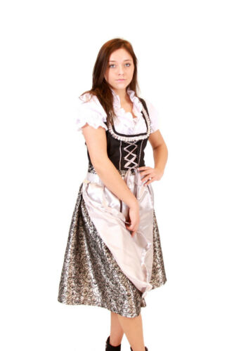 Oktoberfest Volksfest Drindl Bavarian German Beer Girl GREY Maid Costume Dress