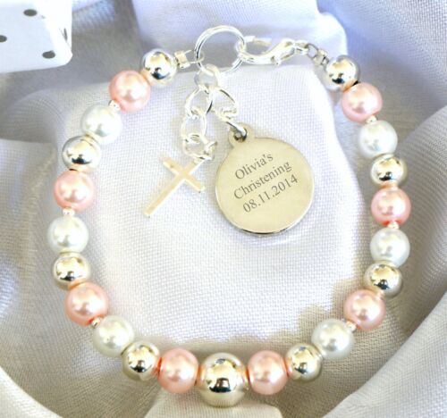 Baby Boy//Girl Christening Name Day Cross Personalised Engraved Charm Bracelet