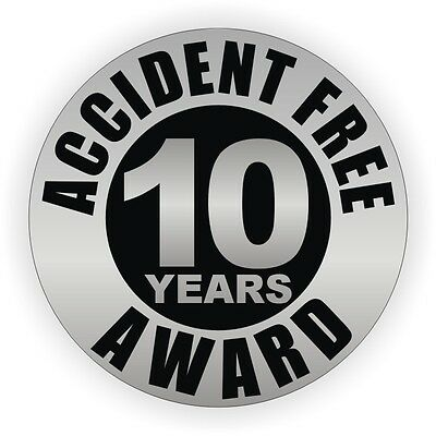 Accident Free 10 Years Hard Hat Decal / Helmet Sticker Label Safety Award