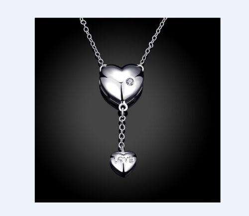 Cadena corazón de plata 925 collar señora-cadena corazón-remolque piedra cadenas remolque