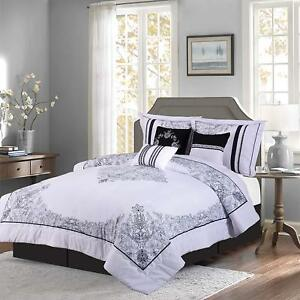 Red Black 7 Piece Nadia Comforter Set Bedding Oversized Royalty