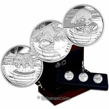 Canada 2016 Reflections of Wildlife 3 Coin $10 Silver Proof Set Wood Box Grizzly