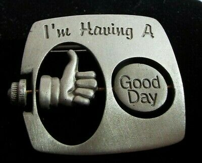 Vintage JJ Brooch Good Day Bad Day Aticulated Brooch