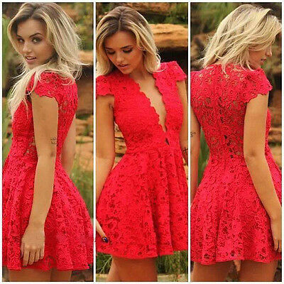 Sexy New Women Ladies Red Deep V Neck Lace Croset Party Prom Cocktail Mini Dress