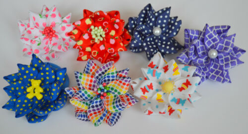 Handmade craft Toddler//girls pair of gorgeous hair bows//hair bobbles