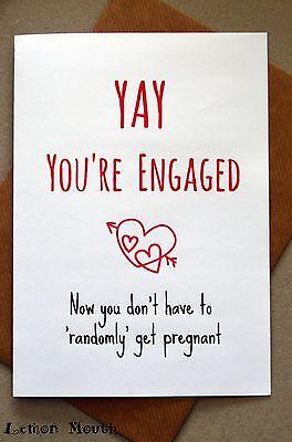 HUMOUR// FUN FUNNY ENGAGEMENT//WEDDING CARD// RUDE YSW SARCASM//BANTER //CHEEKY