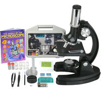 Amscope-kids 120x-1200x Starter Metal Arm Biological Microscope Kit + Book